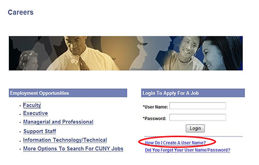CUNYFirst graphic: Careers