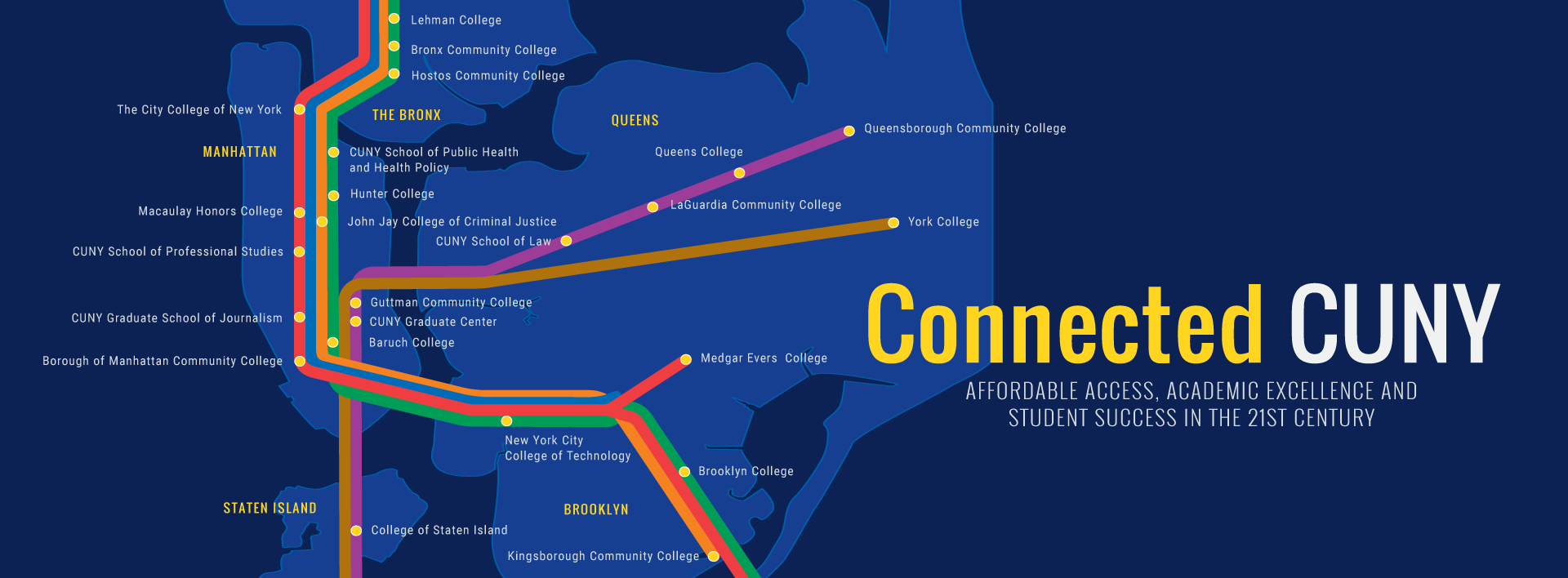 Connected CUNY map