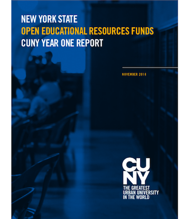 New York State Open Educational Resources Funds: CUNY Year One (Report Cover)