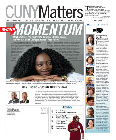 CUNY Matters May 2016 cover