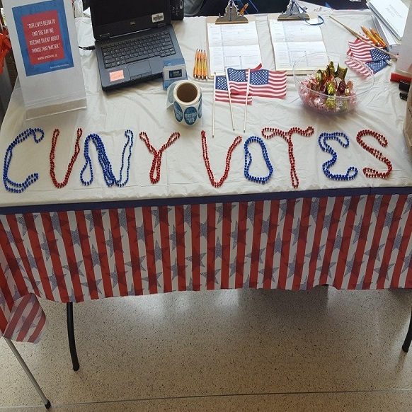 Voter registration table at Hostos CC.