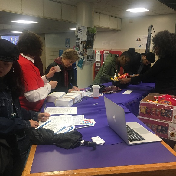 Voter registration table at Hunter College