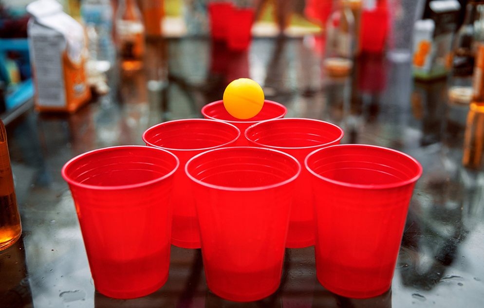 plastic cups with ping pong ball for beer pong