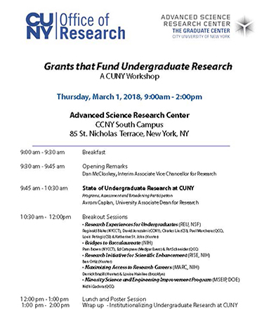 Text for a CUNY workshop on grants that fund undergraduate research