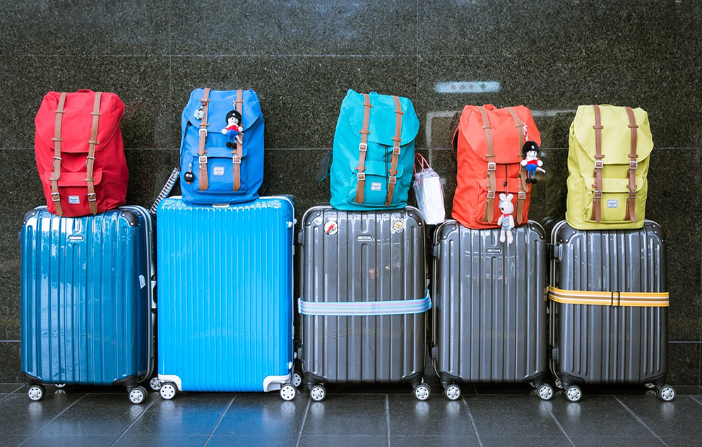 Suitcases and backpackes lined up by a wall, ready for travel