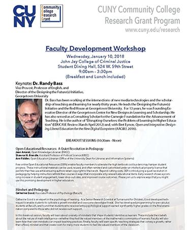 Faculty Development Workshop Keynote Speaker Dr. Randy Bass, Georgetown University