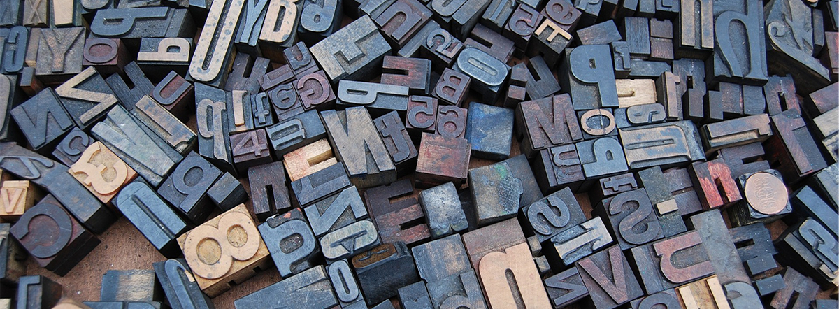 Letters for letterpress printing