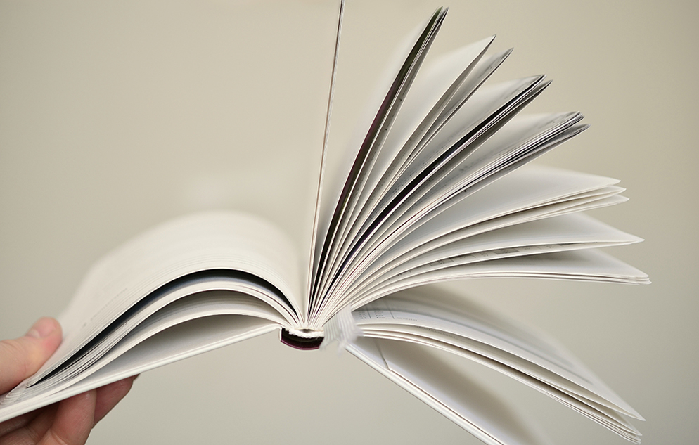person fanning pages of a book