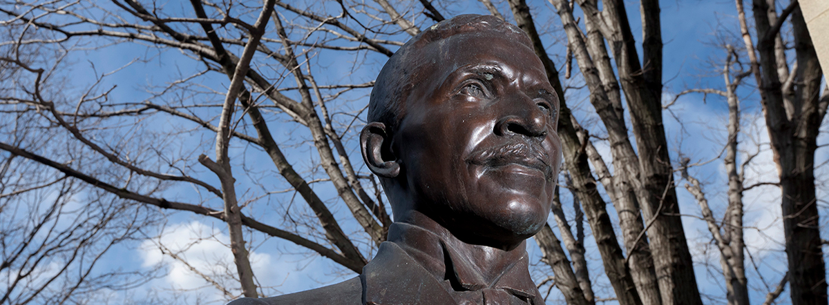 statue of George Washington Carver in the Hall of Fame of Famous American at Bronx Community College