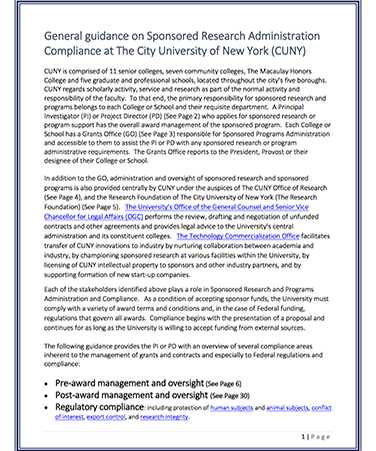 General guidance on Sponsored Research Adminitration Compliance at the City University of new York (CUN) form