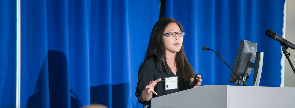 Student presenter Joyce Tam, New York City College of Technology (City Tech) speaking at the CUNY Research Scholars Symposium held at John Jay College