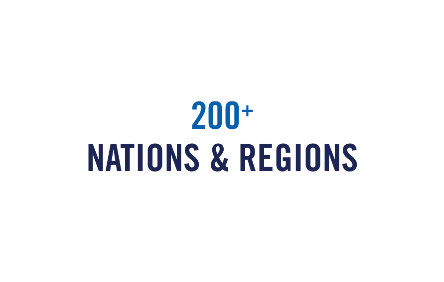 200+ Nations & Regions graphic referring to student geographic origins, for Giving Tuesday