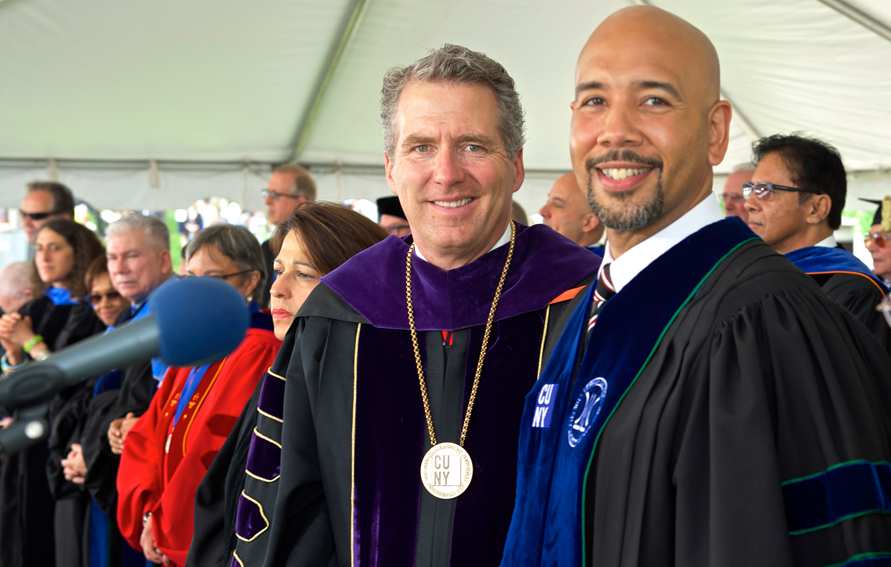 CUNY Chancellor James B. Milliken (l) with Bronx Borough President Ruben Diar, Jr. at the 2016 Lehman College commencement