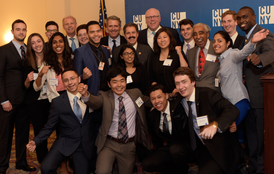 CUNY Chancellor James B. Milliken (c) with Washington, DC interns