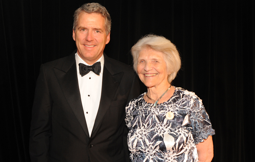 CUNY chancellor James B. Milliken with Harriet Fulbright